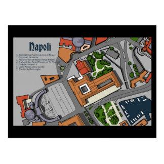 Von Hand gezeichnete Karte von Napoli