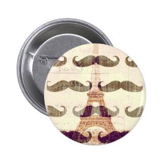 Von Paris mit dem Schnurrbart Runder Button 5,1 Cm