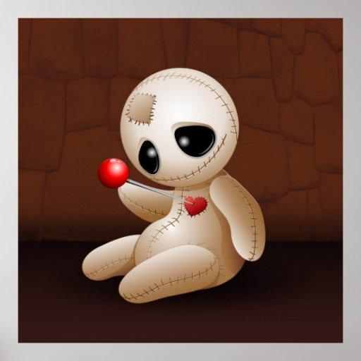 Voodoo-Puppen-Cartoon in den Liebeplakaten Plakate