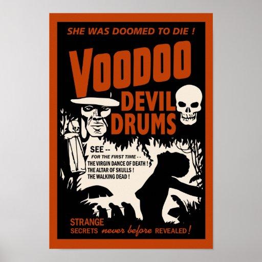 Voodoo-Teufel trommelt Vintages Plakat