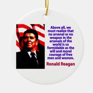 Vor allem müssen wir - Ronald Reagan verwirklichen Keramik Ornament