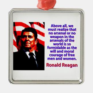 Vor allem müssen wir - Ronald Reagan verwirklichen Quadratisches Silberfarbenes Ornament