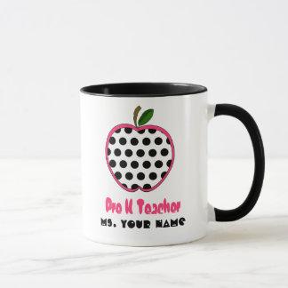 Vor Kindergärtnerin-Tasse - Polka-Punkt Apple Tasse