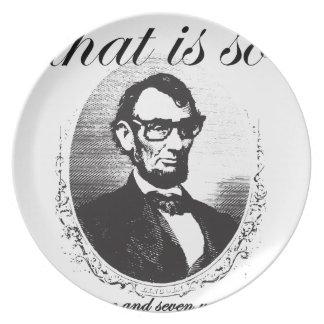Vor Lincoln, das so achtzig und sieben Jahren ist Teller