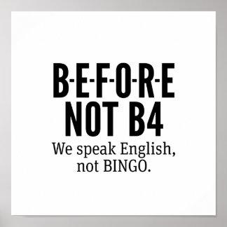 VOR NICHT B4 - sprechen Sie Englisch-nicht Bingo Poster