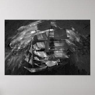 Vorbildliches Segelboot schwarzes u. weißes Poster