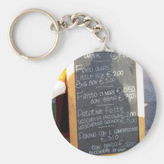Vordergrundplakat des Menüs auf einen typischen Schlüsselanhänger
