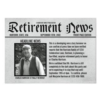 Vorderseite-Zeitungs-Ruhestands-Party Einladung