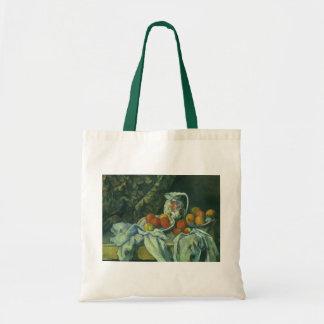 Vorhang und geblühter Krug durch Paul Cezanne Tragetasche