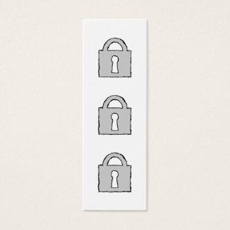 Vorhängeschloß. Streng geheim oder vertrauliche Mini Visitenkarte