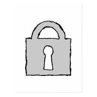 Vorhängeschloß. Streng geheim oder vertrauliche Postkarte