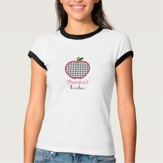 Vorschullehrer-Shirt - grauer Gingham Apple T-Shirt