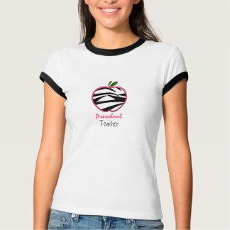 Vorschullehrer-Shirt - Rosa Zebra-Druck-Apples w T Shirts