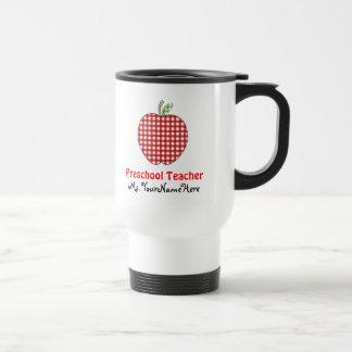 Vorschullehrer-Tasse - roter Gingham Apple Edelstahl Thermotasse