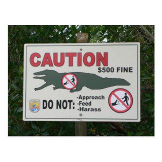 Vorsicht-Alligatorzeichen-Postkarte Postkarte