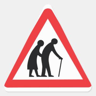 VORSICHT ältere Menschen - BRITISCHES Dreieckige Aufkleber