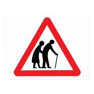 VORSICHT ältere Menschen - BRITISCHES Postkarte
