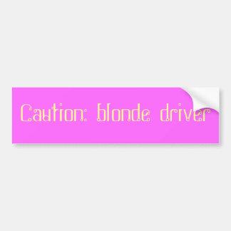 Vorsicht: blonder Fahrer Autoaufkleber