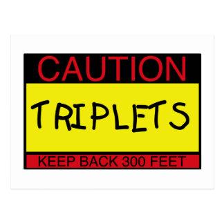 Vorsicht-Dreiergruppen Postkarte
