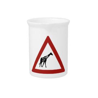 Vorsicht-Giraffen, handeln Warnzeichen, Namibia Getränke Pitcher