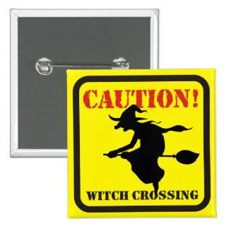 Vorsicht! Hexe-Überfahrt Quadratischer Button 5,1 Cm
