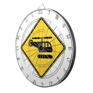 Vorsicht-Hubschrauber-Zeichen Dartscheibe