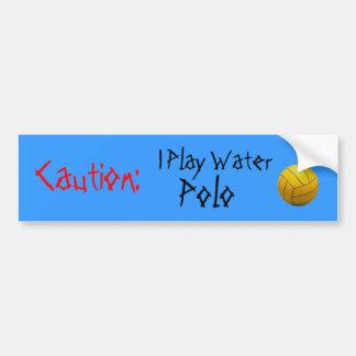 Vorsicht: Ich spiele Wasserball Autoaufkleber