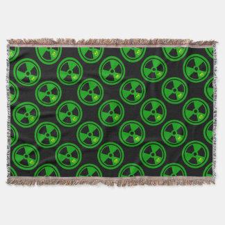 Vorsicht-radioaktives Zeichen mit dem Schädel Decke
