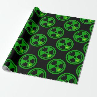 Vorsicht-radioaktives Zeichen mit dem Schädel Geschenkpapier