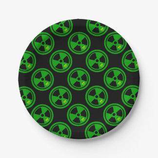 Vorsicht-radioaktives Zeichen mit dem Schädel Pappteller