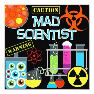 Vorsicht-wütende Wissenschaftler-Geburtstags-Party Quadratische 13,3 Cm Einladungskarte