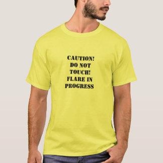 Vorsichtaufflackern laufendes T-Stück T-Shirt
