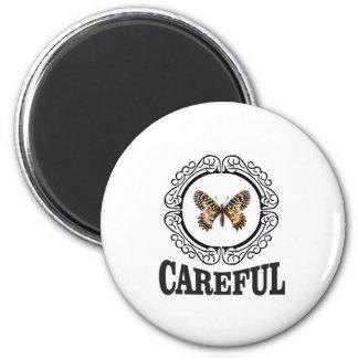 vorsichtiger Schmetterling Runder Magnet 5,1 Cm