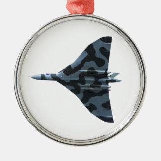 Vulcan Bomber im Flug Rundes Silberfarbenes Ornament
