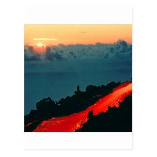 Vulkan-Reunion- IslandLavafluss 1975 Postkarte
