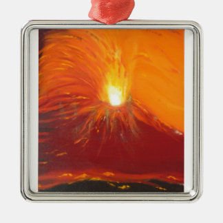 Vulkanausbruch Quadratisches Silberfarbenes Ornament