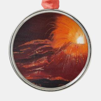 Vulkanausbruch Rundes Silberfarbenes Ornament