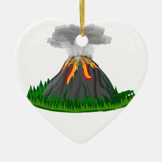 Vulkaneruption und -feuer keramik Herz-Ornament