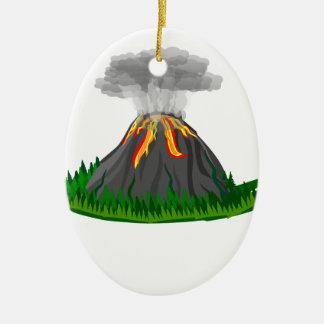 Vulkaneruption und -feuer ovales keramik ornament