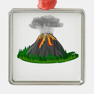 Vulkaneruption und -feuer quadratisches silberfarbenes ornament