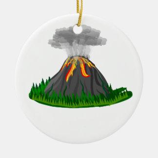 Vulkaneruption und -feuer rundes keramik ornament