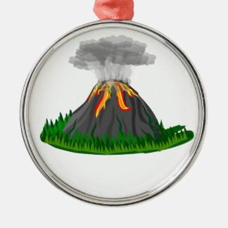 Vulkaneruption und -feuer rundes silberfarbenes ornament