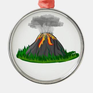 Vulkaneruption und -feuer silbernes ornament