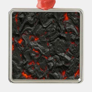 vulkanischer Lavahintergrundeffekt Quadratisches Silberfarbenes Ornament