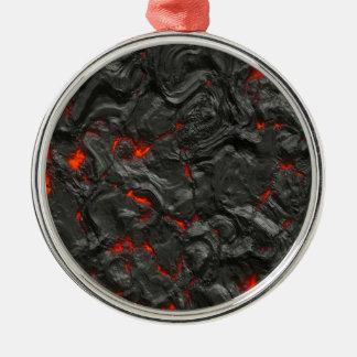 vulkanischer Lavahintergrundeffekt Rundes Silberfarbenes Ornament