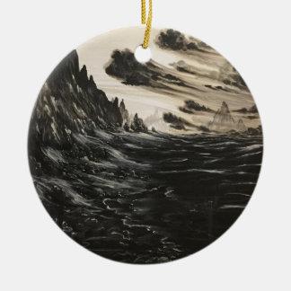 Vulkanisches Ufer Rundes Keramik Ornament