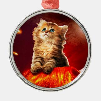 Vulkankatze, vulcan Katze, Silbernes Ornament