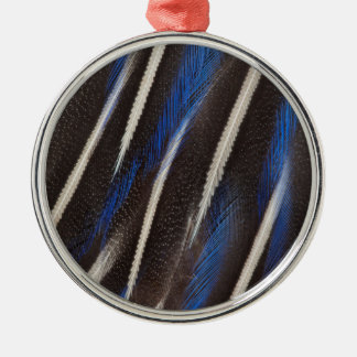 Vulturine Guineafowl Feder Rundes Silberfarbenes Ornament