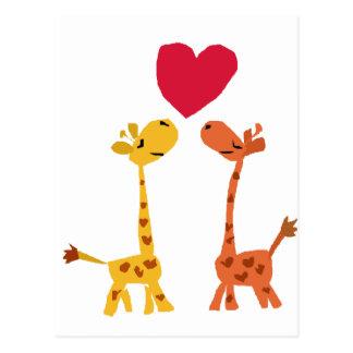 VW, lustiger Giraffen-Liebe-Cartoon Postkarte
