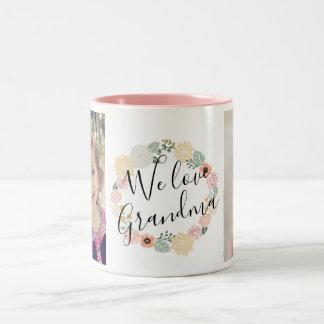 W-Liebe-Großmutter-kundenspezifische Foto-Tasse Zweifarbige Tasse